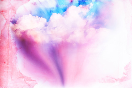 purple: Abstract watercolor illustration of cloud. Watercolor illustration of sky. Abstract background.