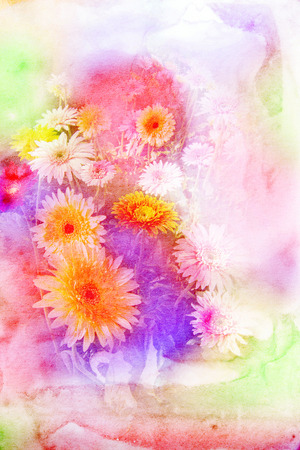 grunge background: Abstract watercolor illustration of blossom gerbera. Watercolor painting on paper. Floral watercolor illustration.