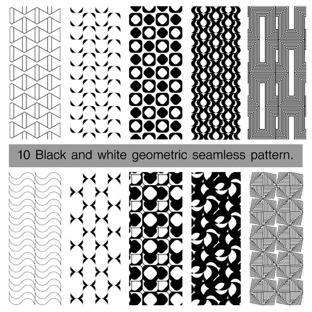 interlace: Collection of black and white geometric seamless pattern. Abstract background. Vector seamless pattern. Illustration