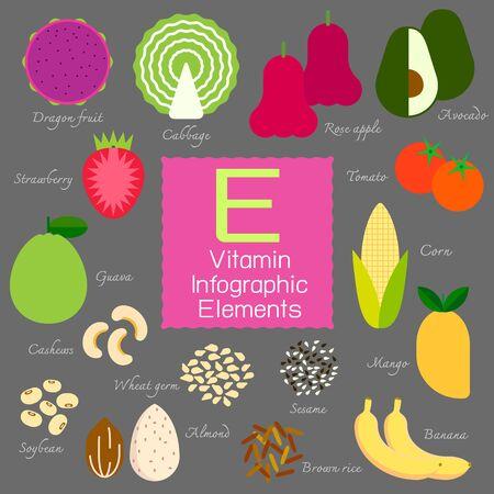 Vitamine E infographique plat élément de design. illustration.