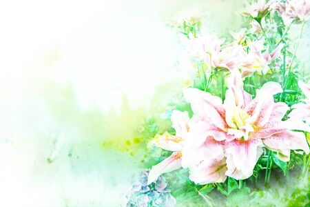 lilly: Abstract watercolor illustration of blossom lilly flower. Watercolor painting. Floral watercolor illustration. Stock Photo