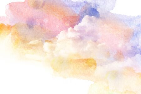 raincloud: Watercolor illustration of colorful sky with cloud. Artistic natural abstract background.
