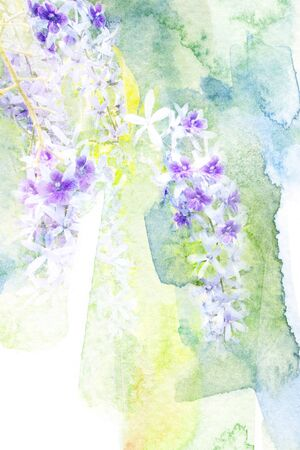 purple wreath: Abstract watercolor illustration of blossom purple wreath. Watercolor painting. Floral watercolor illustration. Stock Photo