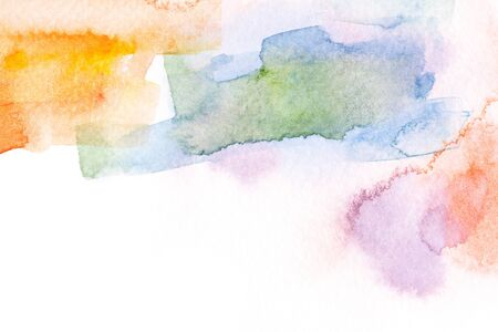 Abstract colorful watercolor brush stroke illustration on paper. Artistic painting background.
