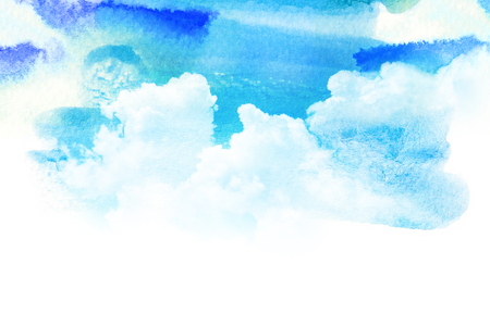 blue sky with clouds: Watercolor illustration of sky with cloud. Artistic natural painting abstract background.