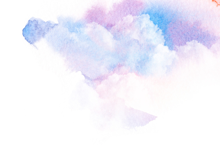 Watercolor illustration of colorful sky with cloud. Artistic natural abstract background.