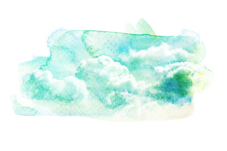 nimbus: Watercolor illustration of sky with cloud. Artistic natural painting abstract background.