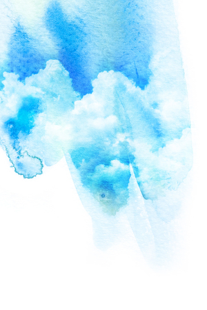 Watercolor illustration of blue sky with cloud. Artistic natural painting abstract background.