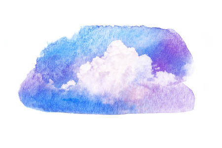 Watercolor illustration of colorful sky with cloud. Artistic natural painting abstract background.