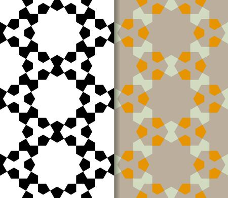 pentagon: Geometric seamless pattern with pentagon. Repeating abstract vector background with monochrome and color style.