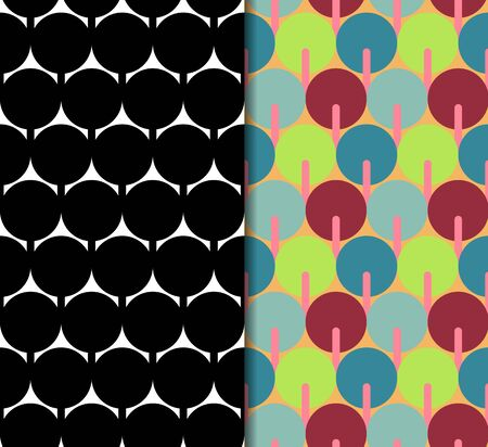 Geometric seamless pattern. Repeating abstract vector background with monochrome and color style.