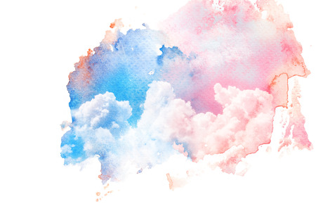 Watercolor illustration of twilight sky with cloud. Artistic natural painting abstract background. Stock Photo