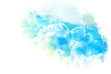 Watercolor illustration of sky with cloud. Artistic natural painting abstract background.