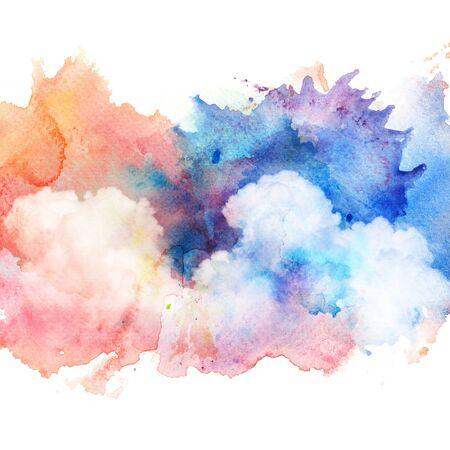 Watercolor illustration of colorful dramatic sky with cloud. Artistic natural painting abstract background. Stock Photo