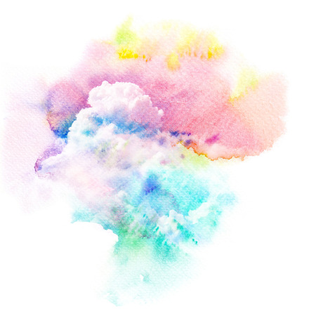 Watercolor illustration of dramatic sky with cloud. Artistic natural painting abstract background.