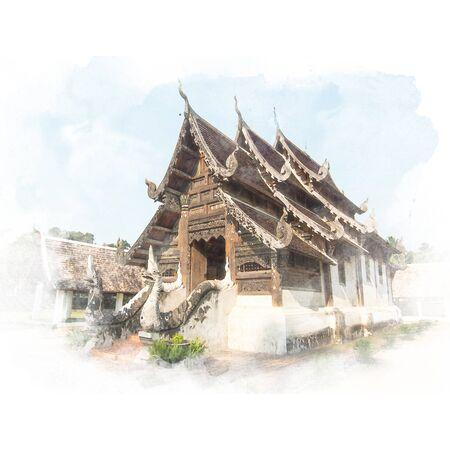 ランナーと青い空寺 (公共の場) で木材の聖域。水彩画 (レタッチ)。