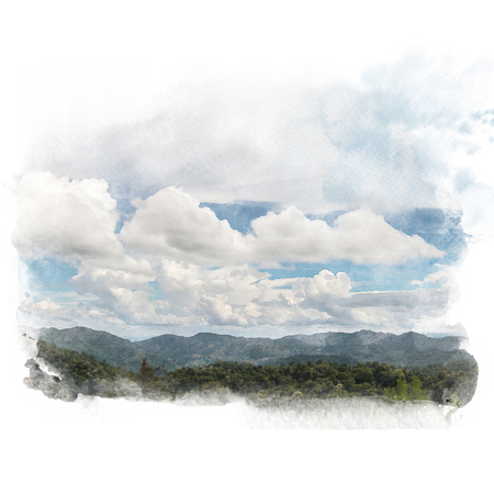 Mountain and blue sky with white cloud. Artistic natural painting abstract background. Watercolor painting (retouch). Stock Photo