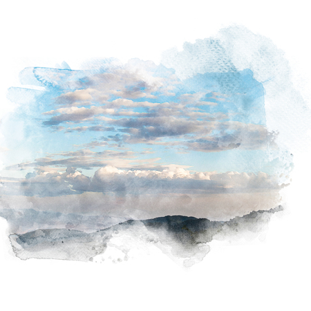 Blue sky with white cloud and mountain. Artistic watercolor painting (retouch) abstract background.