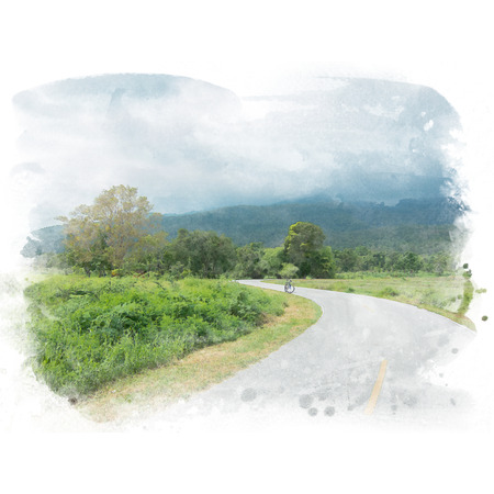Country road in rain season with mountain and sky with cloud background. Watercolor painting (retouch).