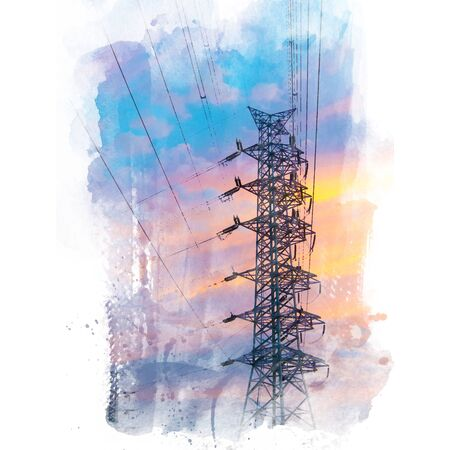 high tech: High voltage electric pole silhouette with beautiful sky background.Watercolor painting (retouch).