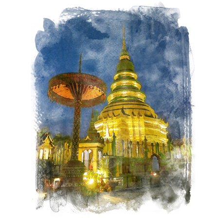 lanna: The golden pagoda on blue sky background, Wat Prathat Haripunchai, Lumphun, Thailand (public place). Watercolor painting (retouch). Stock Photo