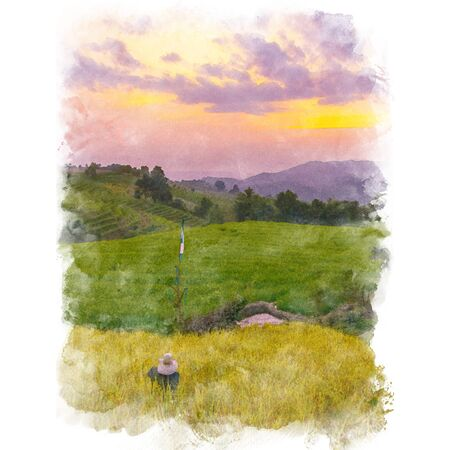 Scarecrow in rice field terrace with mountain and beautiful sky background. Watercolor painting (retouch). Stock Photo
