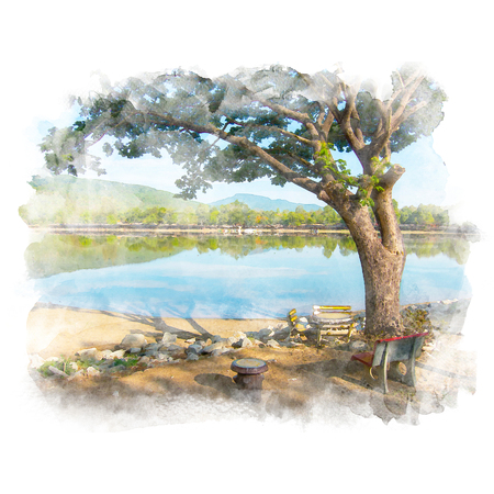 Chair under the big rain tree near the lake with mountain and blue sky background. Watercolor painting (retouch). Stock Photo