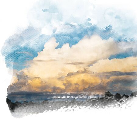 Blue sky with golden cloud. Artistic watercolor painting (retouch) abstract background. Stock Photo