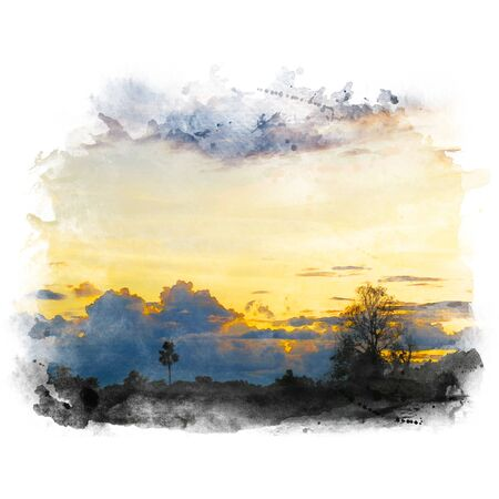 Beautiful sky and cloud with tree silhouette.Watercolor painting (retouch). Stock Photo