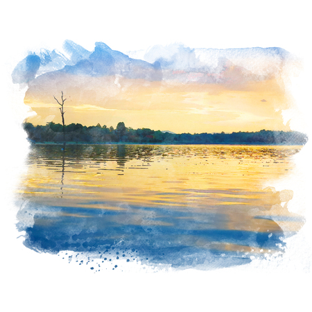 Lake in twilight with tree and beautiful sky. Watercolor painting (retouch). Stock Photo