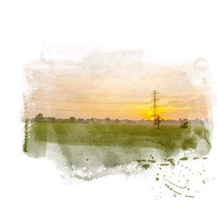 Green rice field with high voltage electric pole and beautiful sky on background. Watercolor painting (retouch). Stock Photo