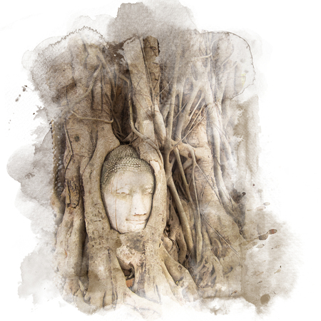 Banyan roots covering the buddha head at the historic site Wat Mahathat in Ayutthaya, Thailand. Watercolor painting (retouch).