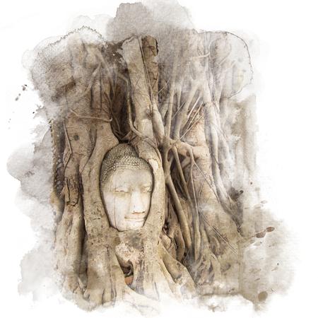 Racines de Banyan couvrant la tête de Bouddha sur le site historique Wat Mahathat à Ayutthaya, en Thaïlande. Aquarelle (retouche). Banque d'images - 88624204