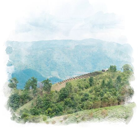 Layer of mountain with shack and blue sky background. Watercolor painting (retouch).