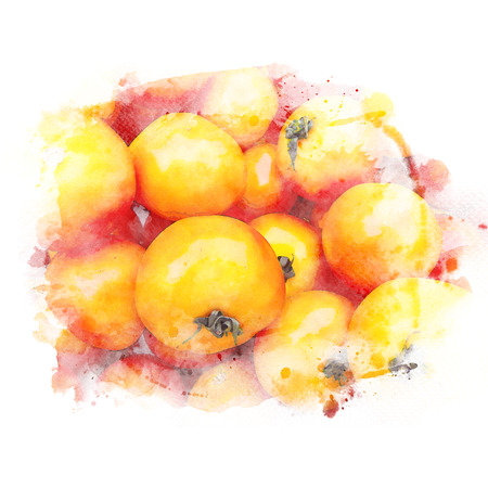 Closeup pile of ripe tomatoes. Watercolor painting (retouch).