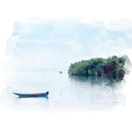 Das leere Boot schwimmt in das Meer nahe der Insel mit Hintergrund des blauen Himmels. Aquarellmalerei (Retusche). Standard-Bild - 90056813