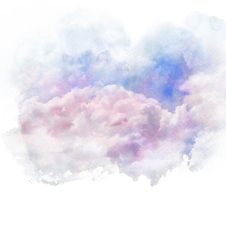 Beautiful sky with white cloud. Artistic natural abstract background. Watercolor painting (retouch).