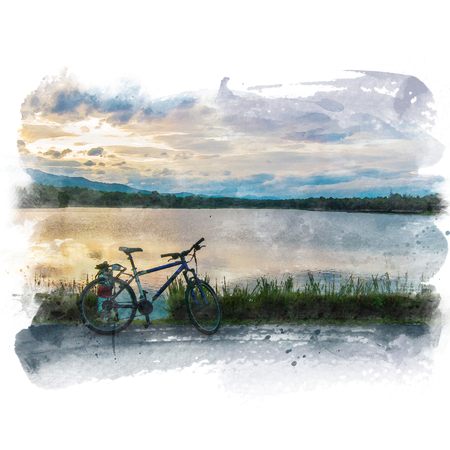 Mountain bike parked beside the lake with mountain and beautiful sky background. Watercolor painting (retouch).