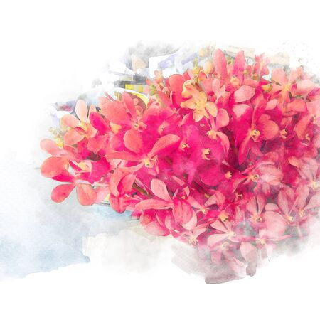 Beautiful blossom red orchids. Artistic floral abstract background. Watercolor painting (retouch).