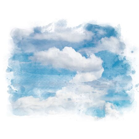 Blue sky with white cloud. Artistic natural abstract background. Watercolor painting (retouch). Stock Photo