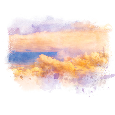 Twilight sky with golden cloud at sunset. Artistic natural abstract background. Watercolor painting (retouch).
