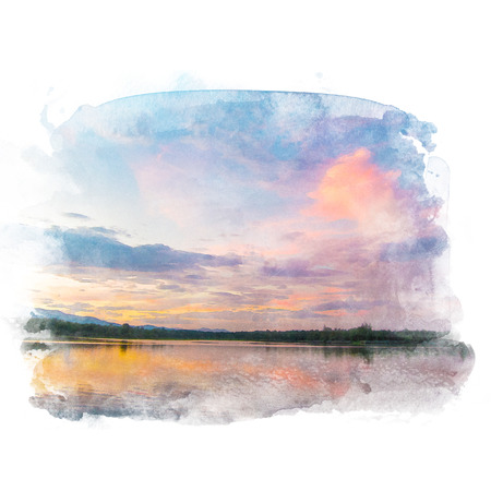 Lake with beautiful sky with cloud and mountain on background. Watercolor painting (retouch). Stock Photo