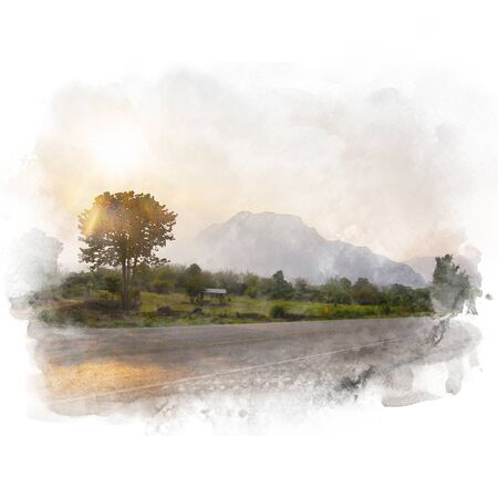 Country road through the tree and mountain with beautiful sky background . Watercolor painting (retouch).