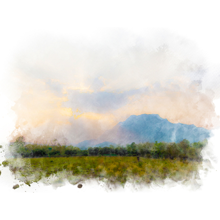 Meadow and mountain with beautiful sky. Watercolor painting (retouch).