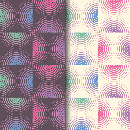 Geometric seamless pattern with semicircle. Repeating abstract vector background with monochrome and color style.