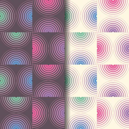 Geometrisches nahtloses Muster mit Halbkreis. Wiederholen des abstrakten Vektorhintergrundes mit Monochrom- und Farbstil. Vektorgrafik