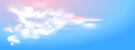 Panorama view of white cloud with colorful sky background. Vector illustration.