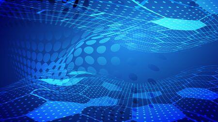 Arrière-plan créatif de la technologie abstraite de lumière bleue et d'ombre. Illustration vectorielle.