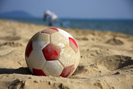 easygoing: soccer on the beach Stock Photo