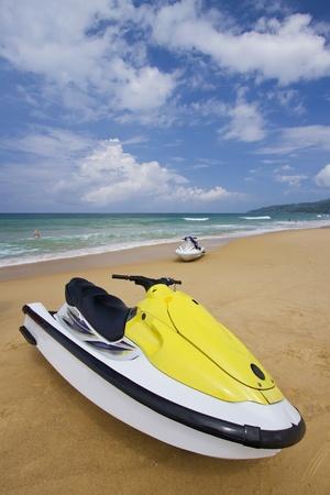 Colorful Jetski on the beach of holiday season, Phuket photo